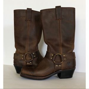 Frye Harness Brown Leather Boots Womens